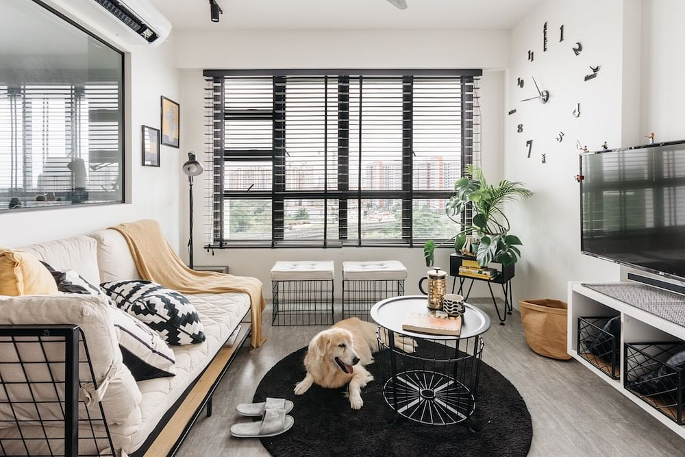 House Tour: Sengkang four-room BTO with a casual-cool, black-and-white theme  title=