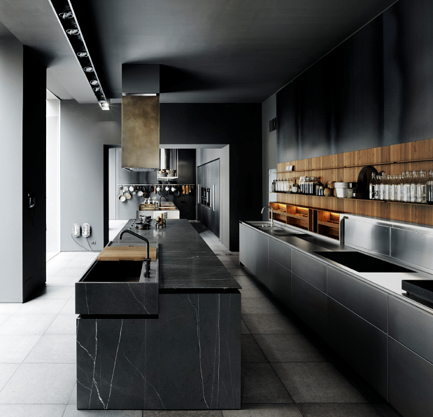 A dark and luxurious kitchen: Code by Boffi title=
