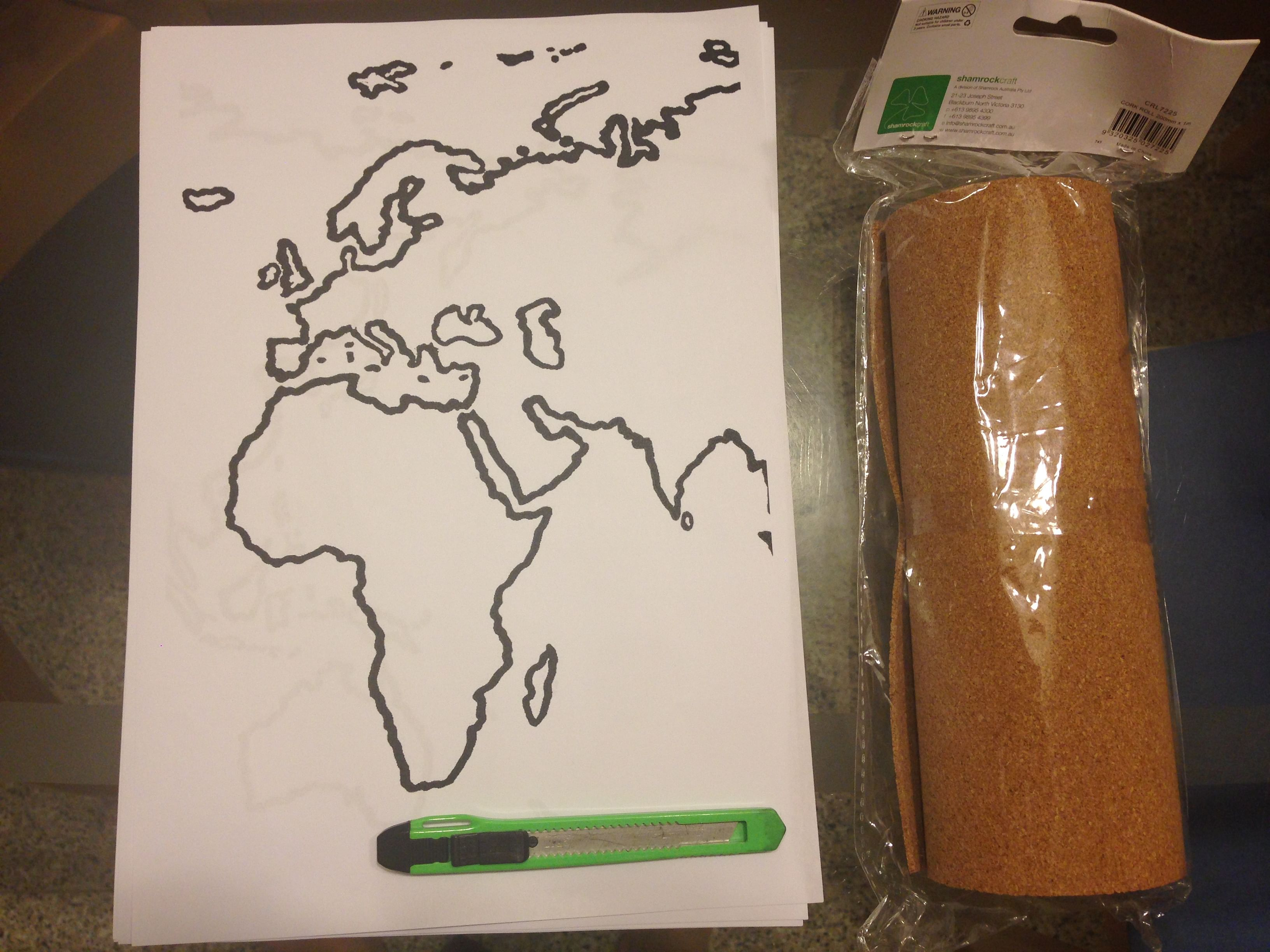 Diy corkboard world map home decor singapore large hard card to support the soft corkboard at the back daiso double sided tape wall adhesive daiso pen knife a large trace out of a map available gumiabroncs Choice Image
