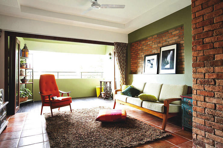 Hdb maisonette with a rustic charm home decor singapore for Living room ideas hdb