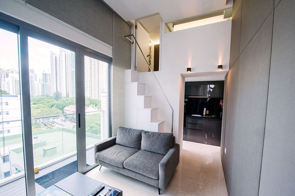 Clever creation of space in a 840sqf apartment