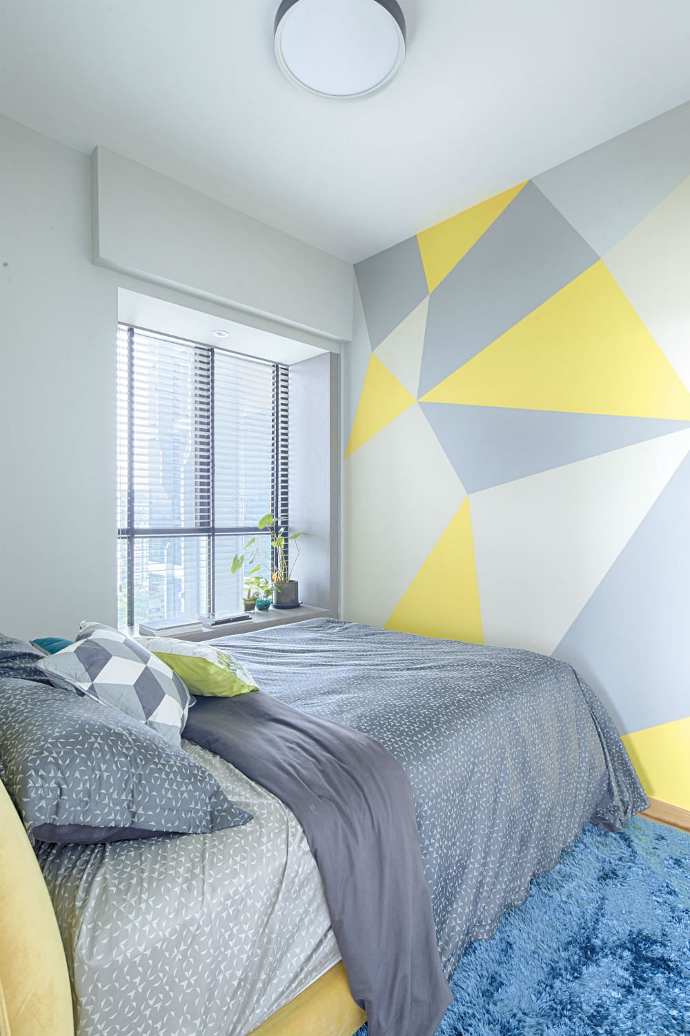 Geometric Pattern Wall Paint DIY Bedroom Prozfile Design