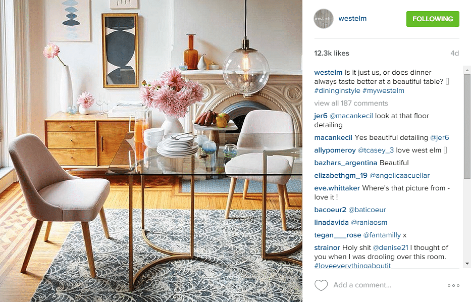 Home decor store west elm founded in brooklyn westelm for Style at home instagram