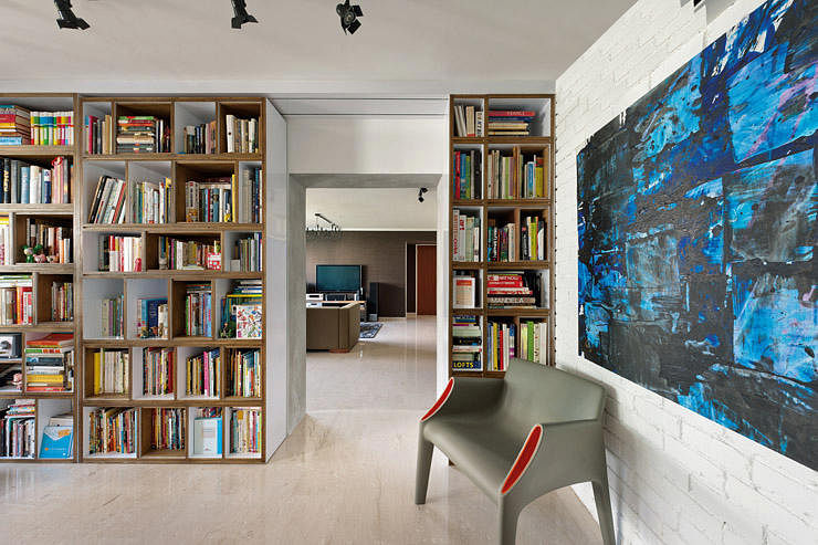 3 jumbo hdb flat homes with trendy interior designs home How to store books in a small bedroom