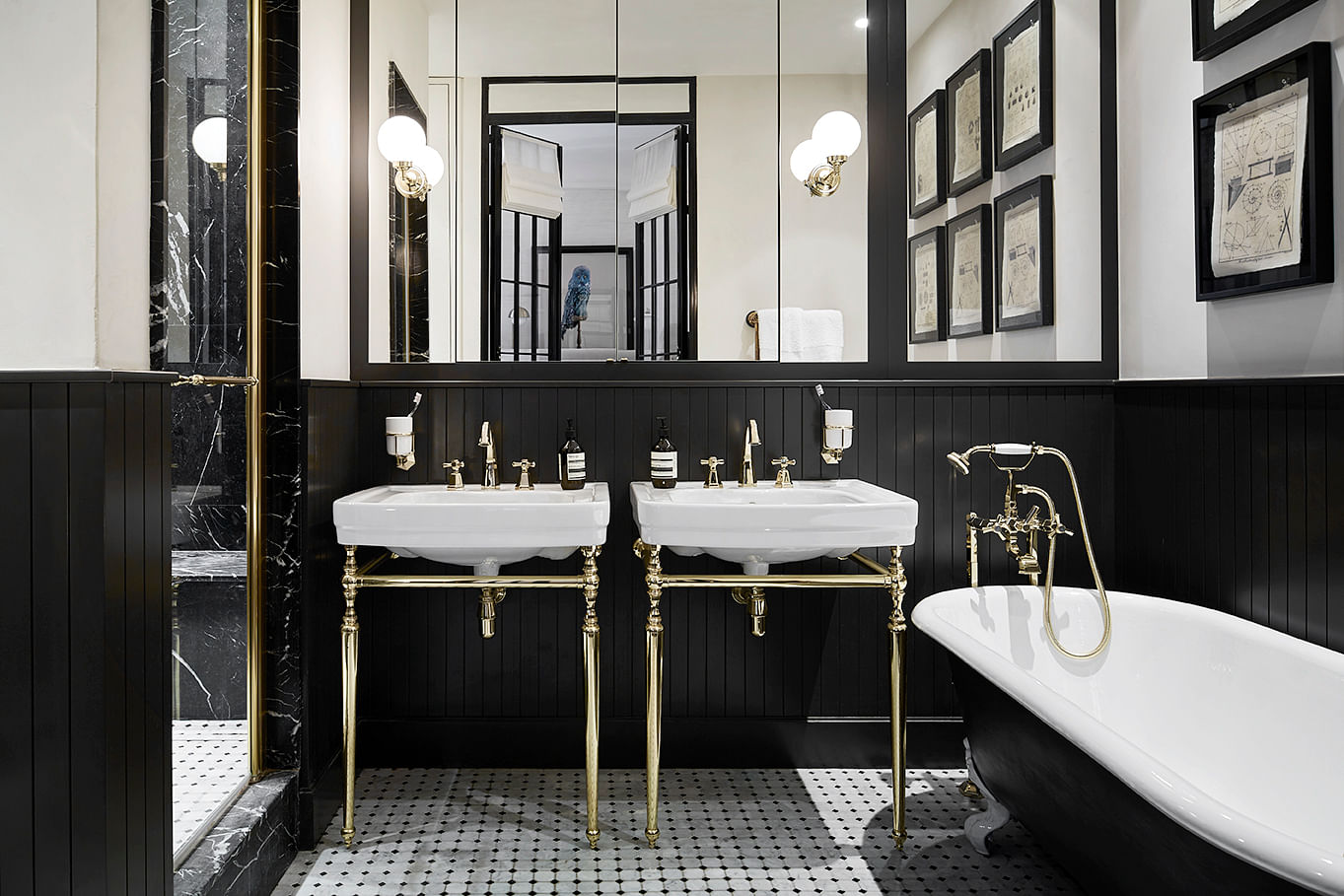 Beau ... We Love The Detailing On The Gold Fixtures, Octagonal Tiled Floor, And  Ornate Bathtub Legs. We Also Appreciate The Clean Lines From The High Black  ...