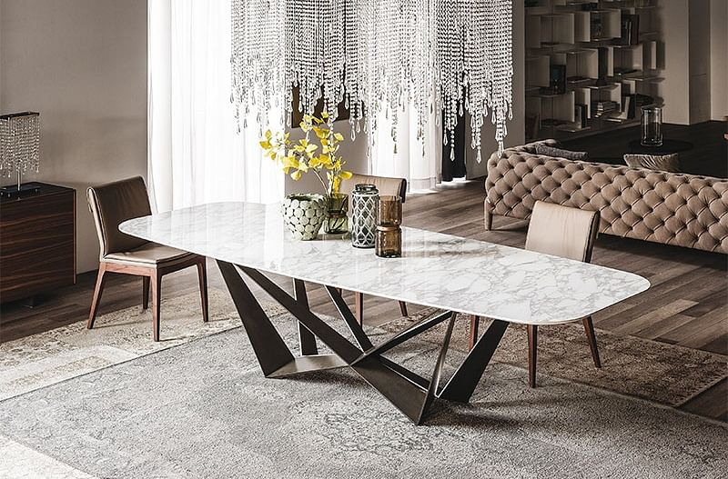 Buy dining tables with unique base designs home decor for Table extensible contemporaine