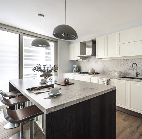 To Create The Look Of Anexpansive And Open Kitchen Space, The Team Utilised  A Greyish Silestone Engineered Quartz For The Kitchen Backsplash And  Countertops ...