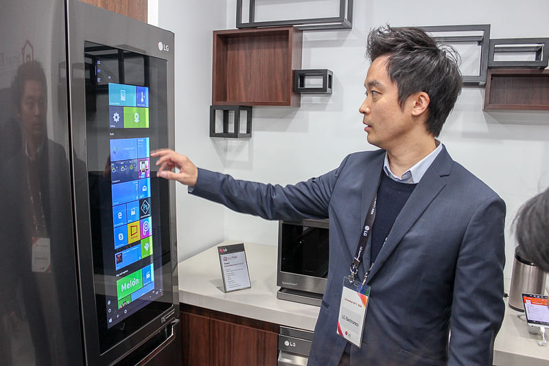This LG refrigerator lets you surf the net for recipes