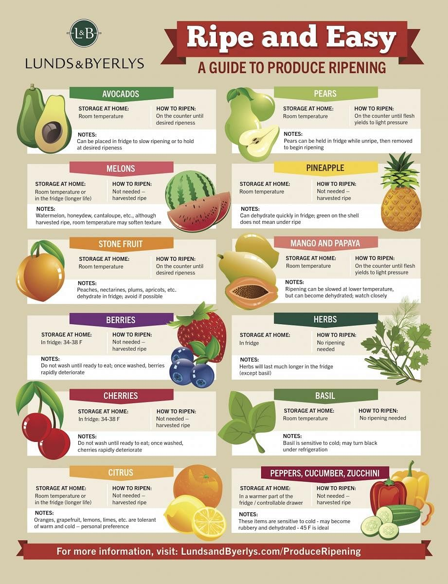A Guide To Storing And Ripening Fruits And Vegetables At