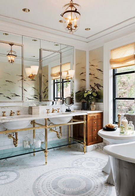(See the five popular styles for bathroom wallcoverings here)
