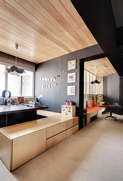 7 HDB flat homes with concrete screed flooring and wood tones 1