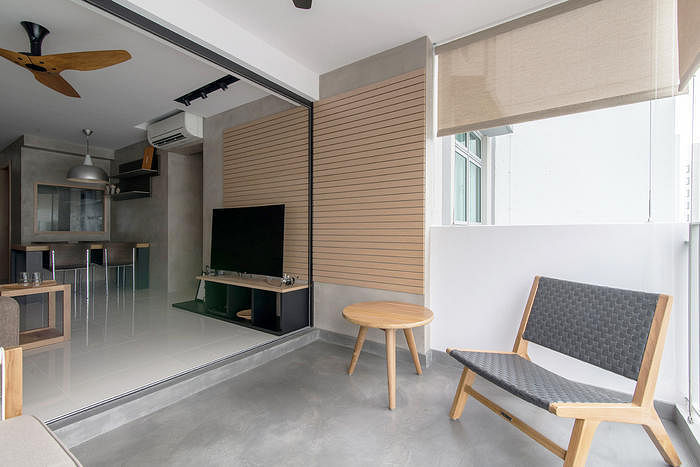7 HDB flat homes with concrete screed flooring and wood tones 5