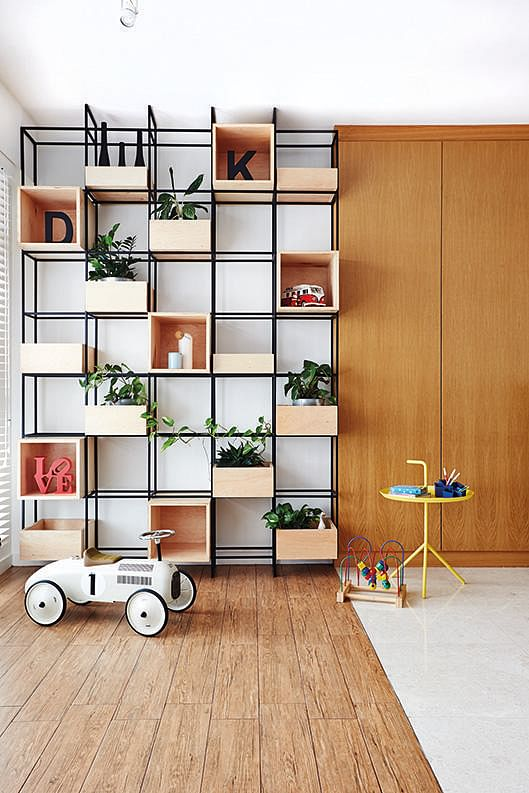 Living Room Feature Wall Designs: 6 Design Ideas For Eye-catching Geometric Storage Feature
