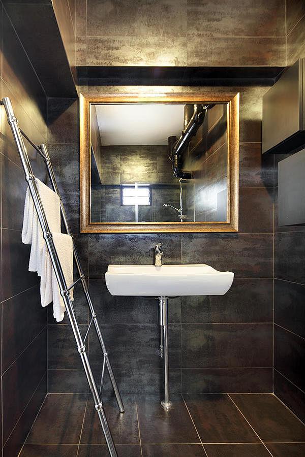 Bathroom design ideas 7 spaces with stylish dark colour for Bathroom sink singapore