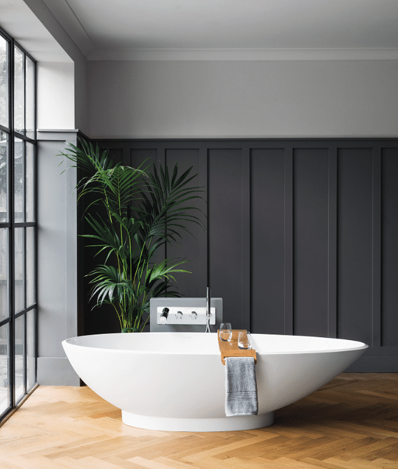 Made Of Naturally White And Glossy U2013 As Well As Easy To Clean Quarrycast  Material, This Freestanding Bath Embodies The U201cless Is Moreu201d Look Perfectly.