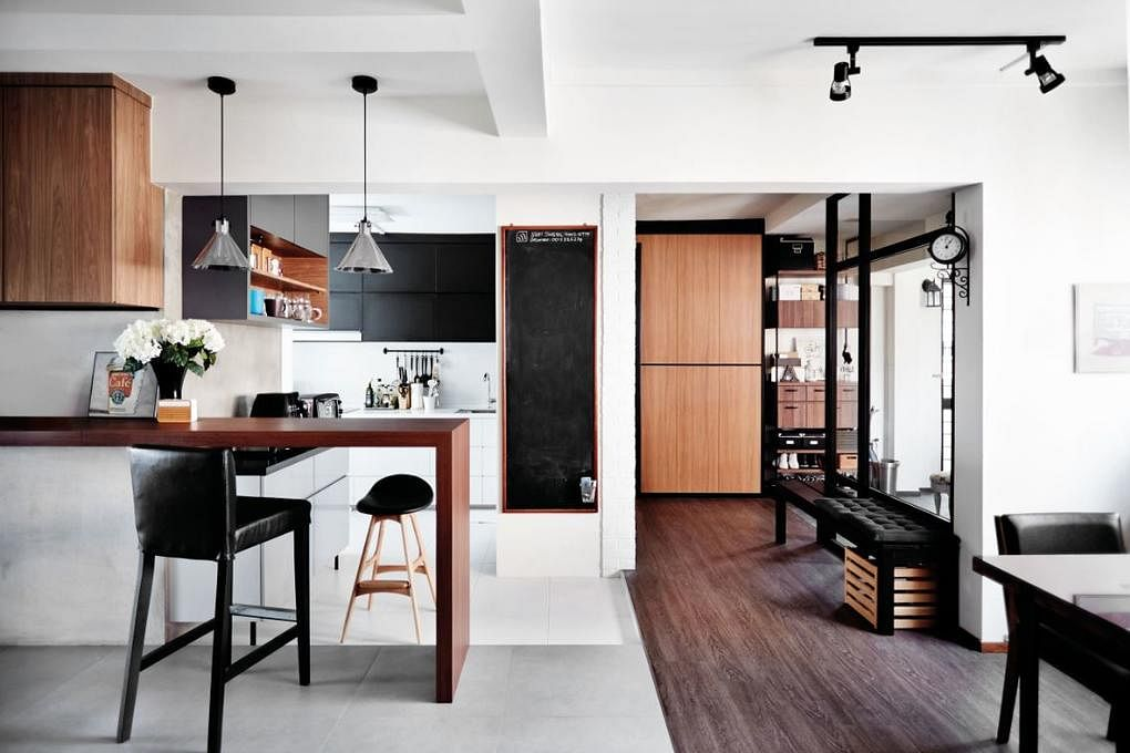 House Tours Black And Wood Toned Bachelor Pads Home Decor Singapore