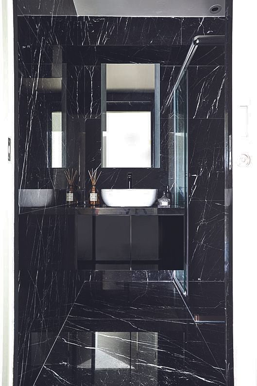 mostly black bathrooms Bowerman interior planner
