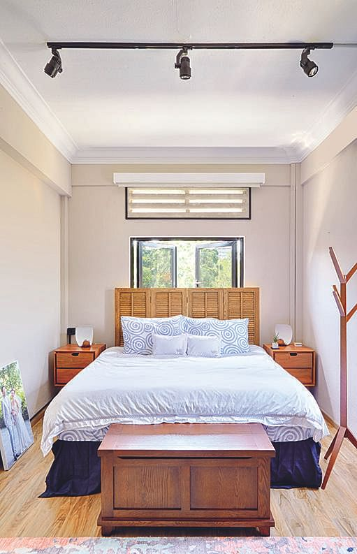 bedroom headboard and feature wall Space sense