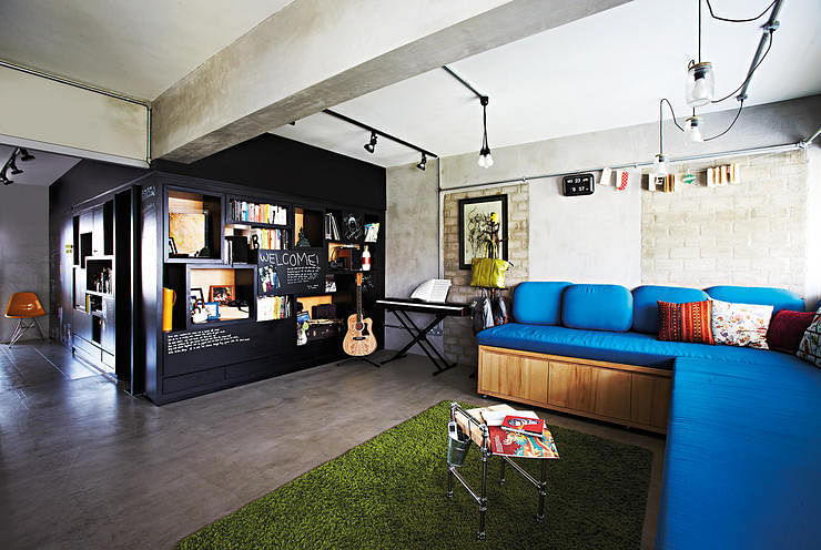 8 inspiring hdb flat homes with concrete screed finishes for Home design ideas singapore