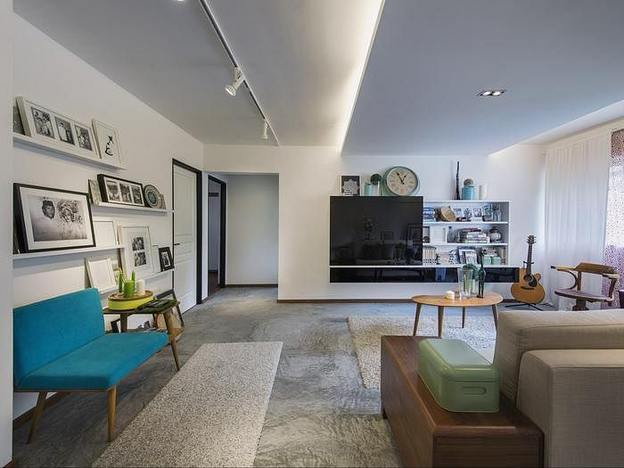 7 HDB flat homes with concrete screed flooring and wood tones 7