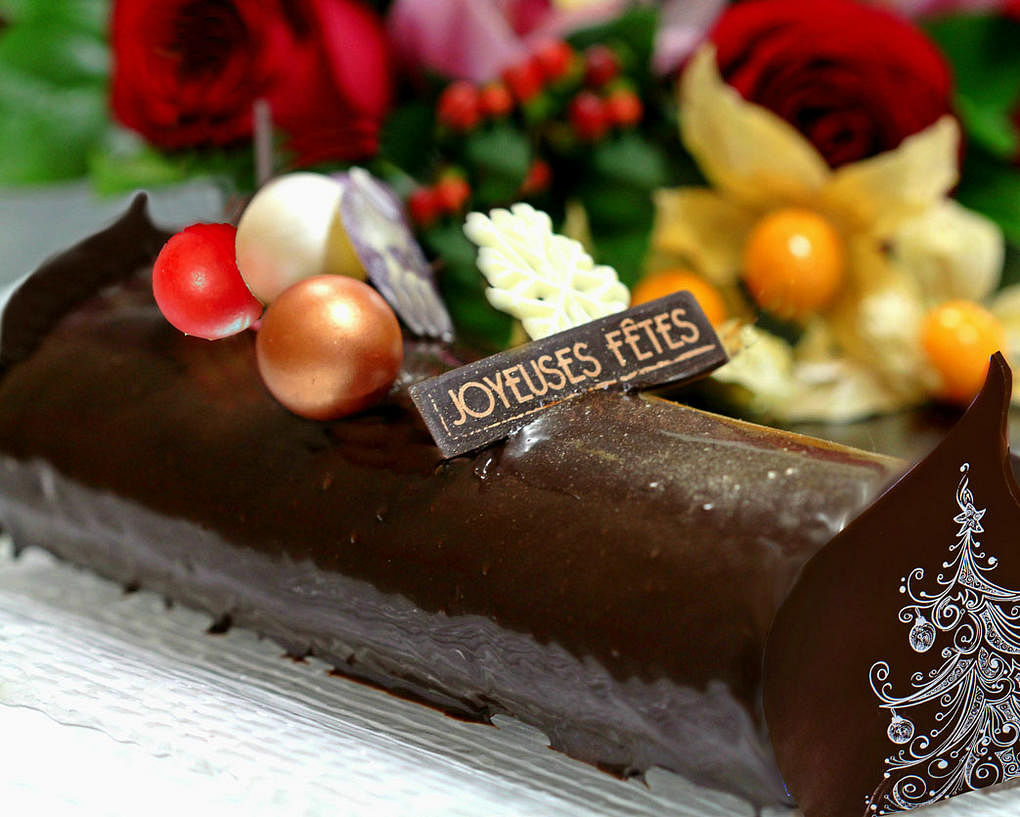 Manjari Chocolate Yule log cake with Amarena Cherry