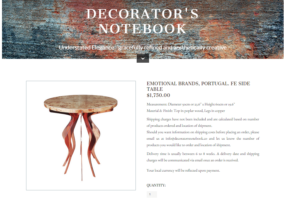 Online decorators notebook