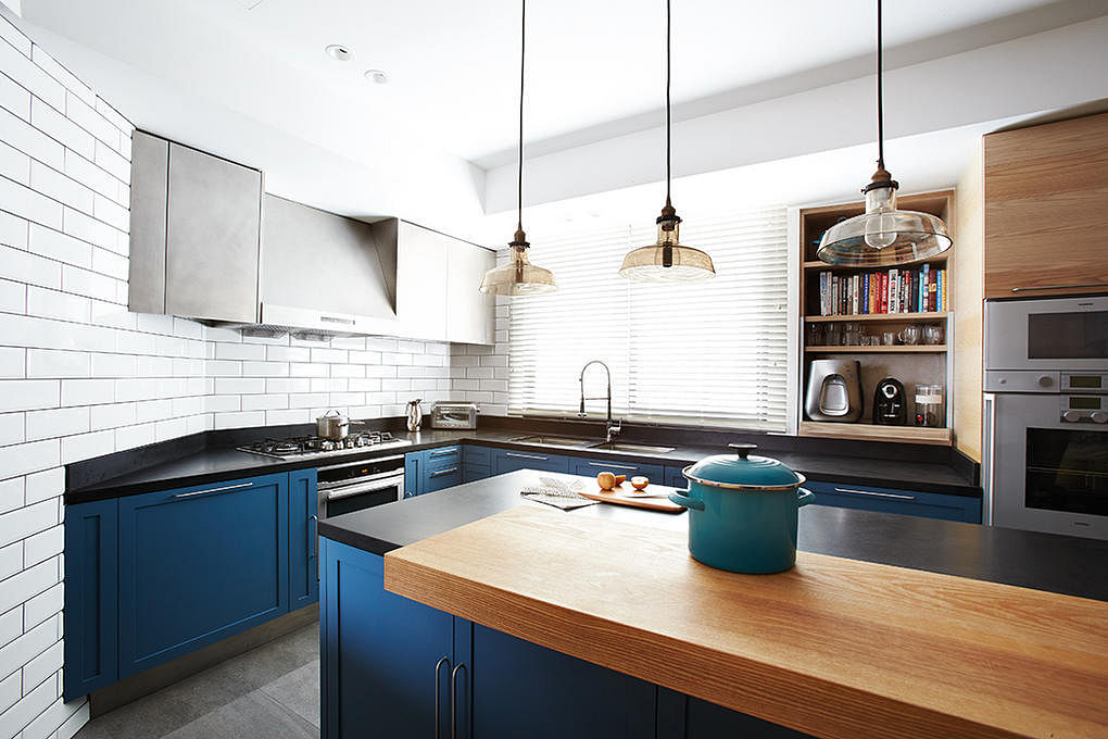 blue kitchen Piu design