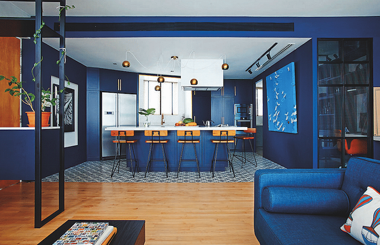 blue kitchen studio wils + architect