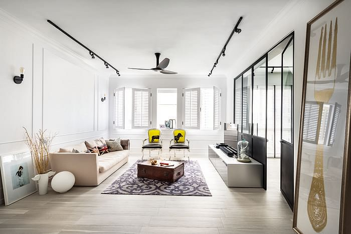 An eclectic modern classical 3 room condominium Home