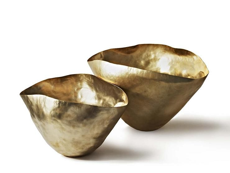 gold, irregular, vase, bowl, vignette