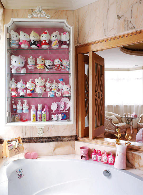 Hello Kitty bath products like liquid soap dispensers are all on show in  the master bathroom.