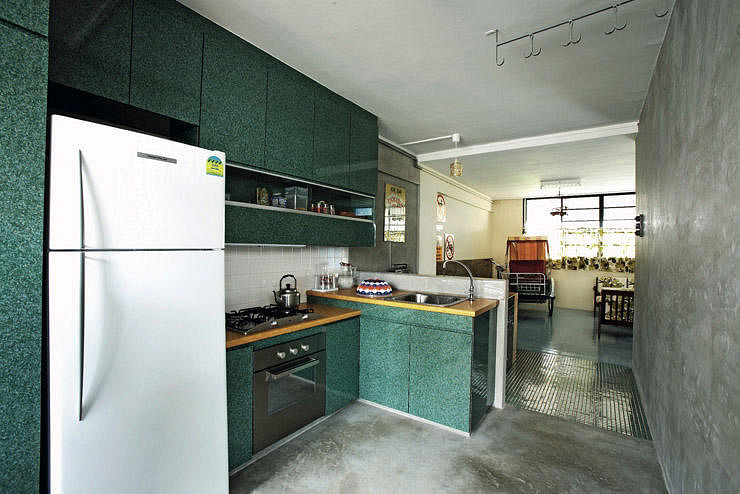 A retro style HDB flatdecorated with a trishaw Home Decor