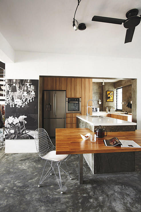 ... Dining Table And Kitchen Island. Design: Space Sense