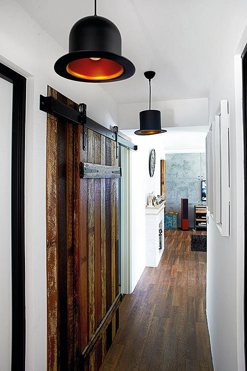 home and decor, renovation, lights, barn doors, corridor, passageway,