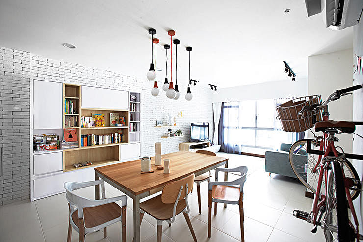 punggol hdb flat four room cafe inspired living room