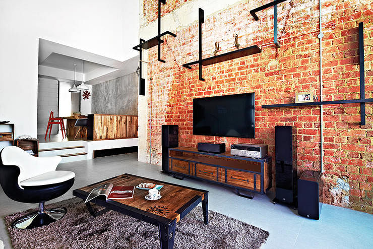 Industrial Living Room Interior Design Brick Wall Raw Touch