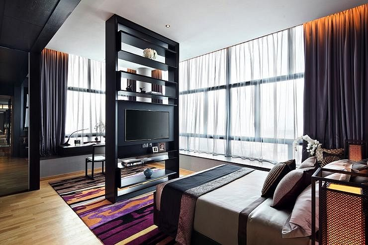 Contemporary Elegant Condominium Unit With Dark Walls Home Decor Singapore