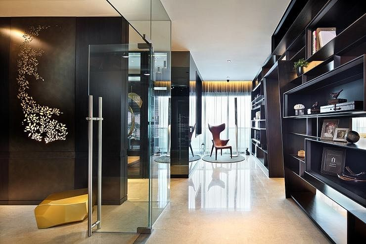 Contemporary Elegant Condominium Unit With Dark Walls