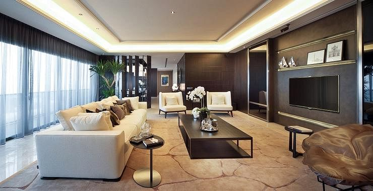 Contemporary elegant condominium unit with dark walls for Condo ceiling design