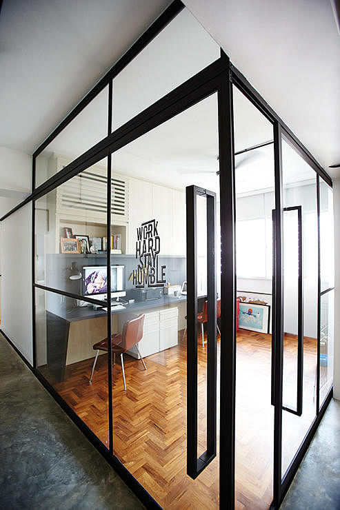 Glass wall partition Kitchen door design hdb