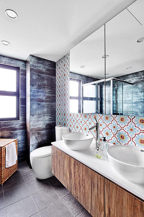 We love the industrial mid century modern peranakan for Small bathroom ideas hdb
