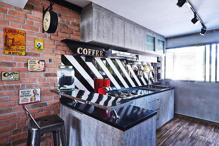 artsy industrial, kitchen design, interior design, home decor, brick wall, artwork