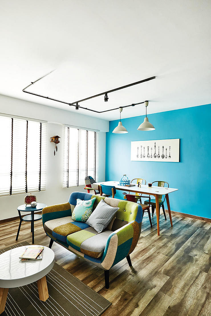 home design, blue paint, bold, bright, patchwork sofa