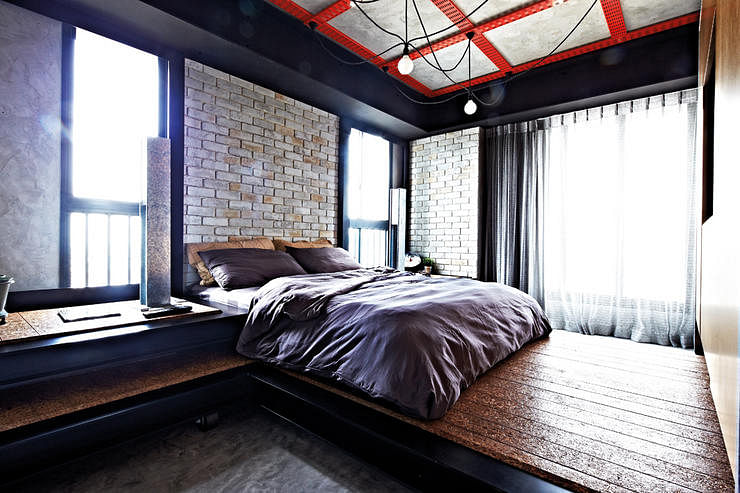 Industrial, Chic, Bedroom, Brick Wall, Suspended Lights, Wooden Panels