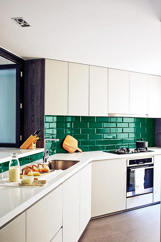 Etonnant Kitchen, Home, Renovation, Condo, Green, Subway Tiles