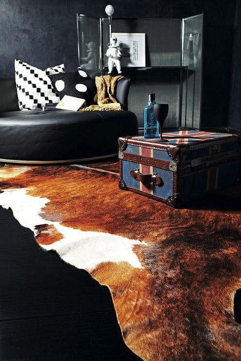 Cowhide Rug & Vintage Luggage