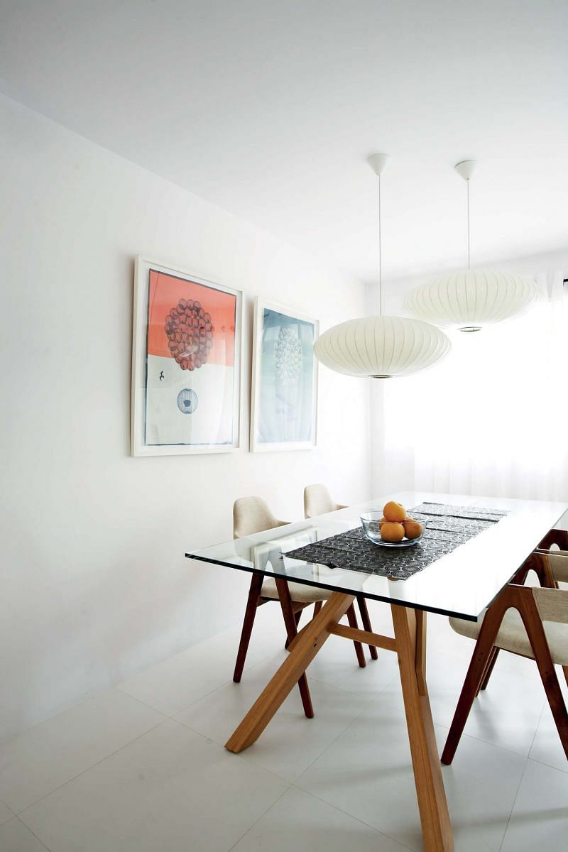 dining room, space, patterns, art, prints, dining table,