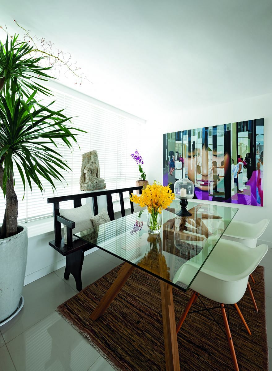 dining area, table, painting, modern, decor, print