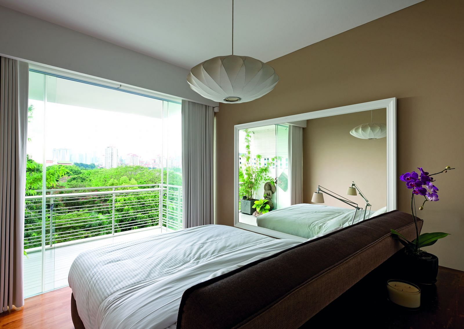 bedroom, bed, plants, airy, large, spacious
