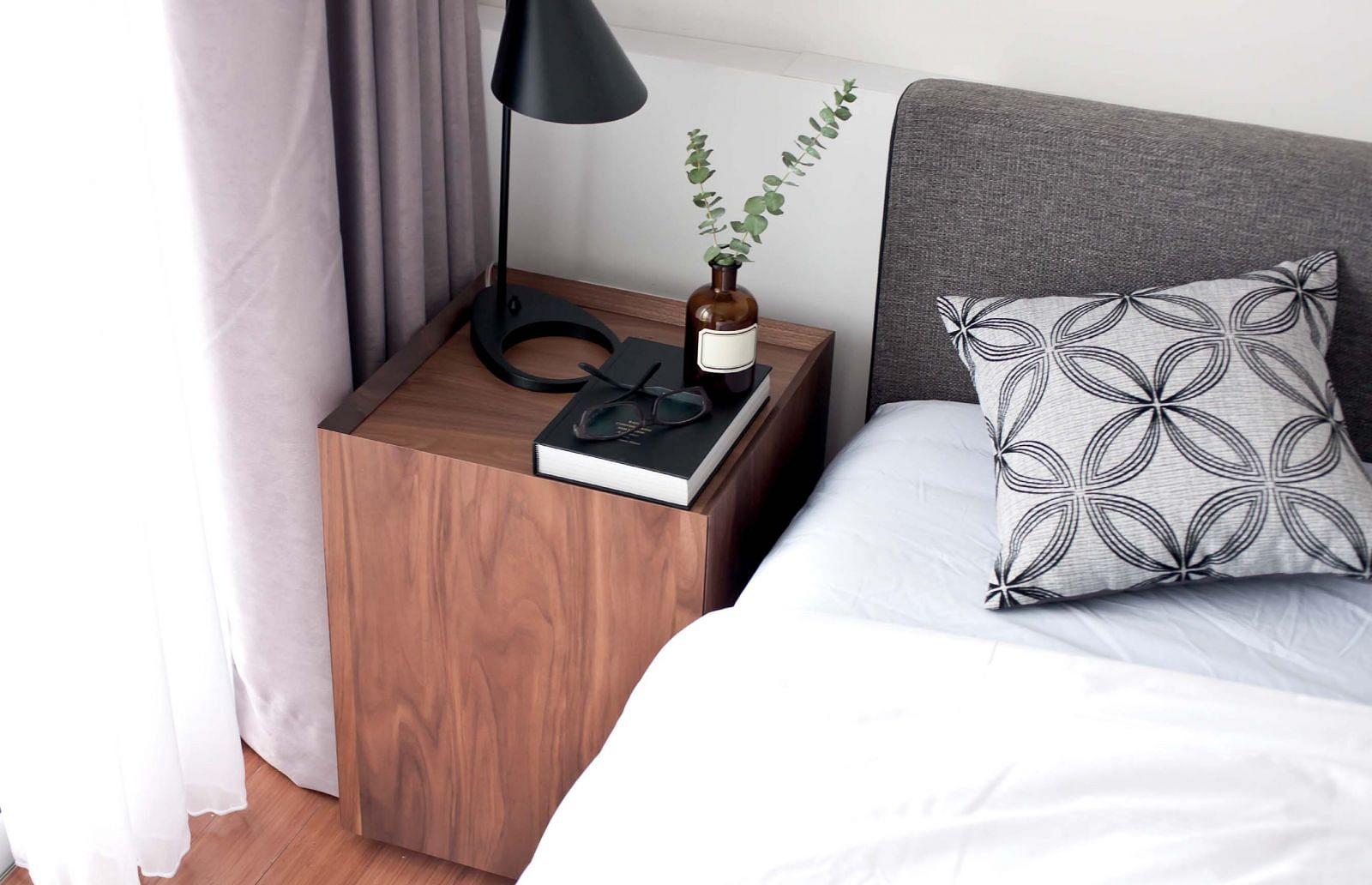 bedroom, bedside table, dark wood, black